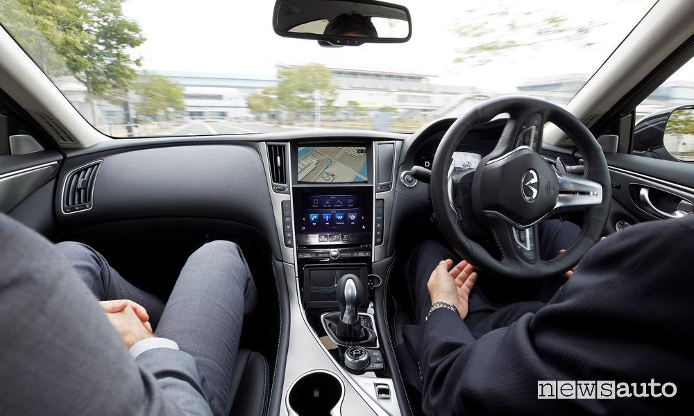 Guida autonoma su strada senza mani sul volante