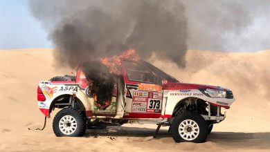 Dakar 2018 incendio Toyota-Hilux Alicia Reina 373