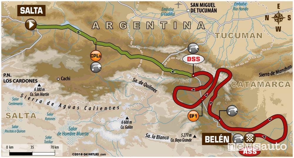 Dakar 2018 10^ tappa mappa Salta-Belen