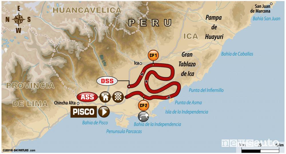 Dakar 2018 percorso 2^ tappa Pisco-Pisco
