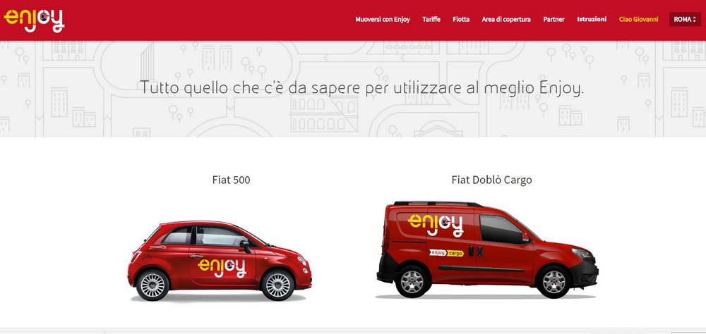 Car sharing Enjoy con Fiat 500 e Fiat Doblò Cargo