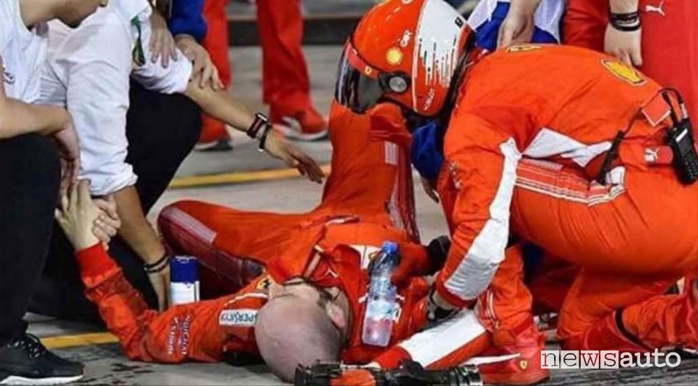 Incidente ai box Bahrain Ferrari