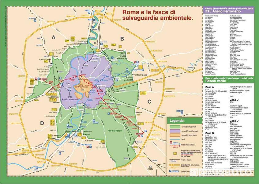 Mappa ZTL Fascia Verde a Roma