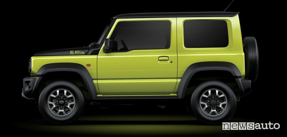 Laterale Suzuki Jimny Sakigake giallo