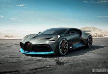 Bugatti Divo laterale con fari led presa d'aria appendici aerodinamiche