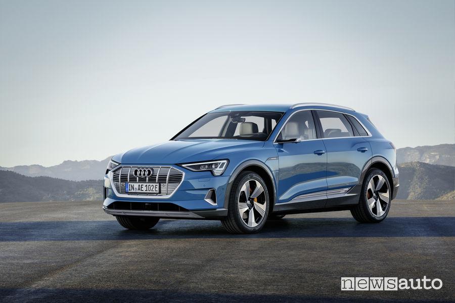 Audi e-tron blue, vista di profilo