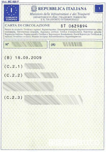 carta di circolazione primo quadrante