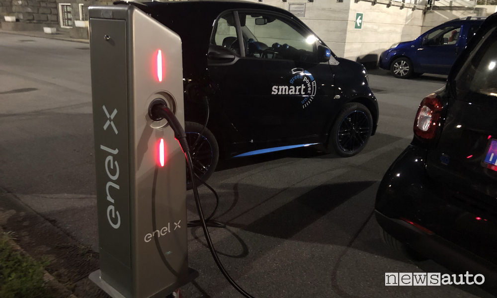 smart EQ elettrica alla green power run, ricarica colonnina rapida Enel X