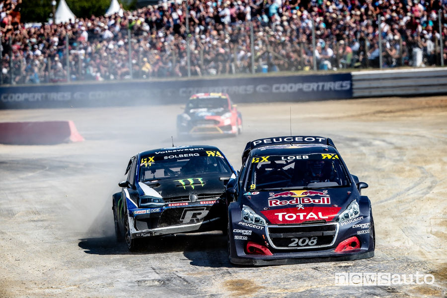 WRX 2018 Francia Lohéac, duello Loeb (Peugeot #9) Solberg (VW Polo R #11)