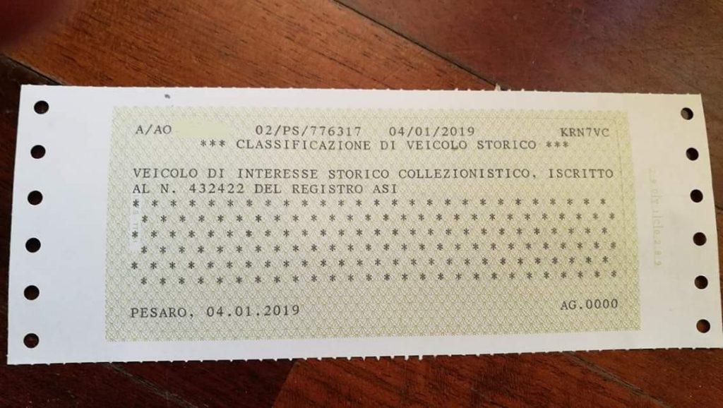 """""""Classificazione di Veicolo Storico"""", Veicolo di interesse storico collezionistico, iscritto al n° XXXX del registro ASI."""