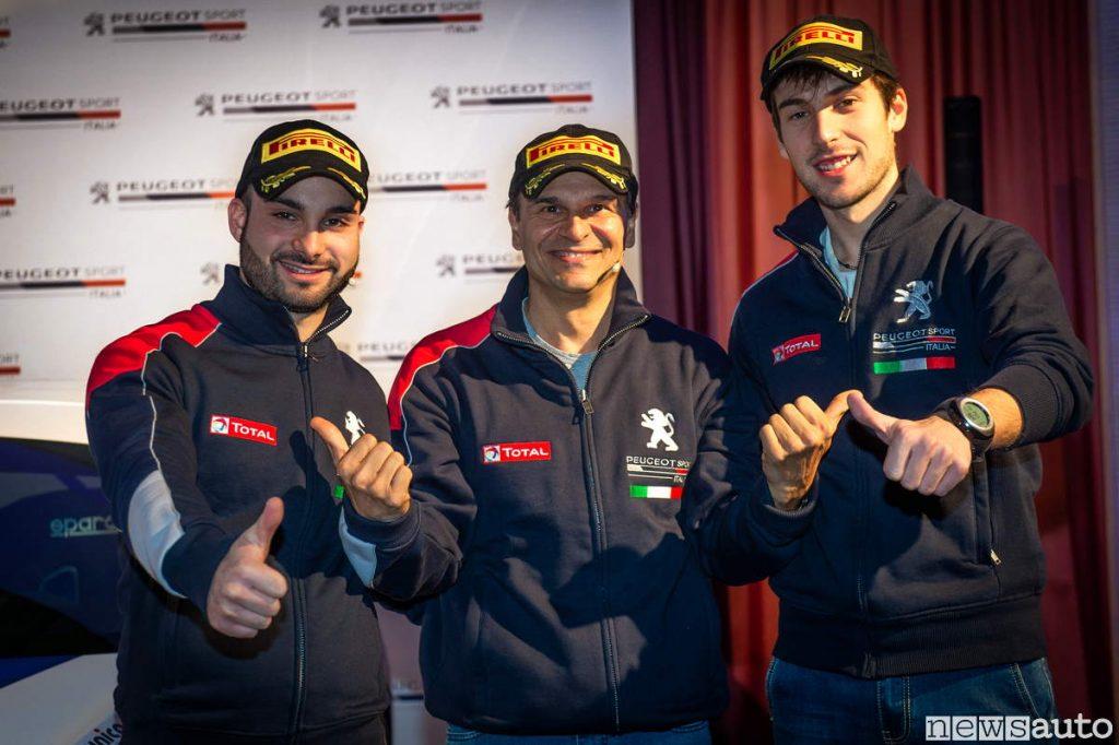Paolo Andreucci con l'equipaggio ufficiale Peugeot Rally Cir 2019 Ciuffi e Gonnella