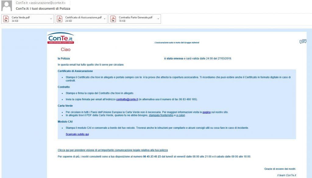 Documenti assicurazione auto  sono trasmessi con posta elettronica (conte)