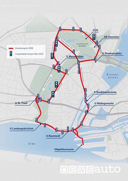 Mappa di Amburgo area test guida autonoma