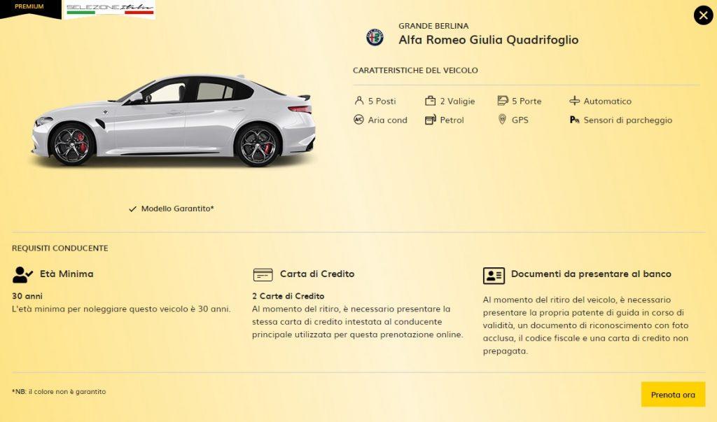 Auto sportiva a noleggio, Alfa Romeo Giulia Quadrifoglio nella flotta Hertz