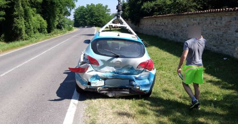 Auto Google Street View incidente provincia di Piacenza