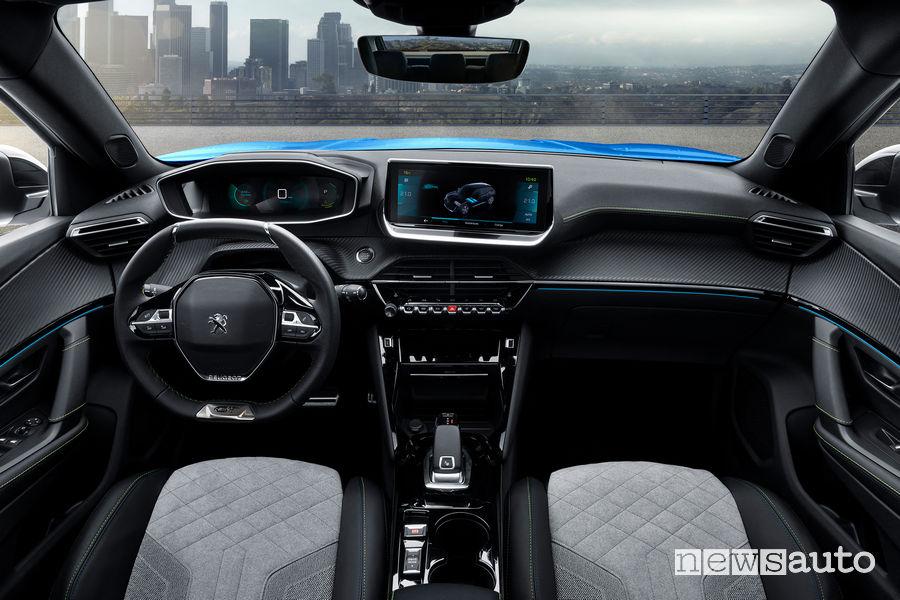 Nuova Peugeot e-2008 elettrica, abitacolo i-Cockpit 3D