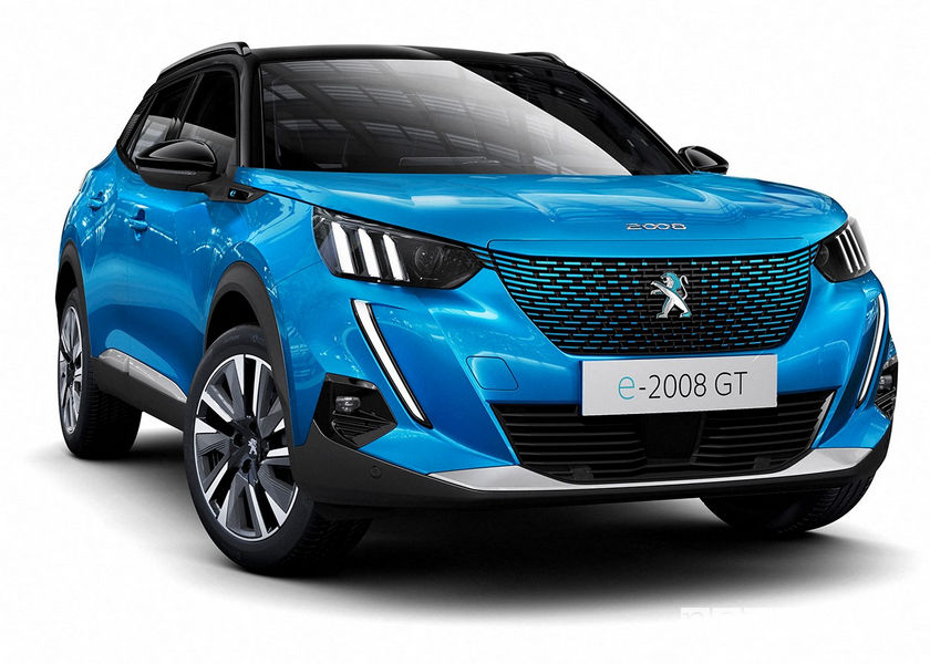 Nuova Peugeot e-2008 elettrica, vista di profilo
