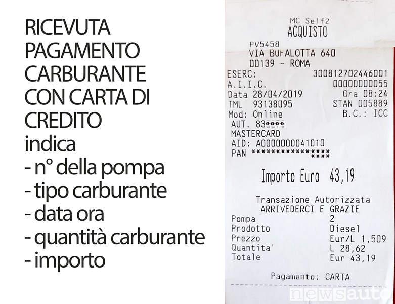 Ricevuta pagamento carburante automatico sel service con carta di credito