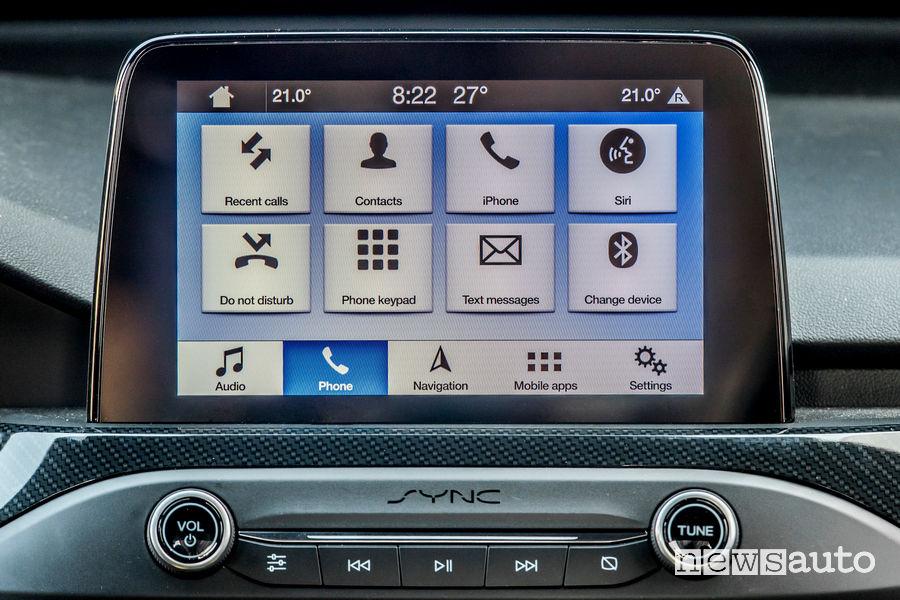Menù infotainment SYNC 3 nuova Ford Focus ST 2019