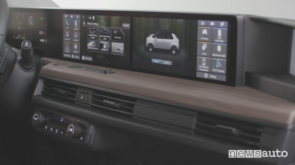 Citycar elettrica Honda e plancia strumenti digitale