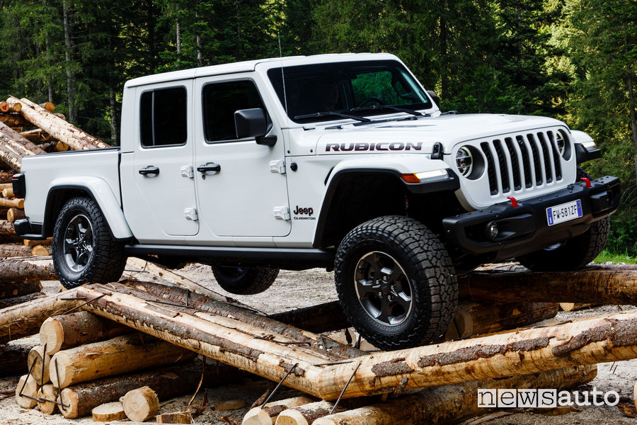 Jeep Gladiator Rubicon in off road sui tronchi