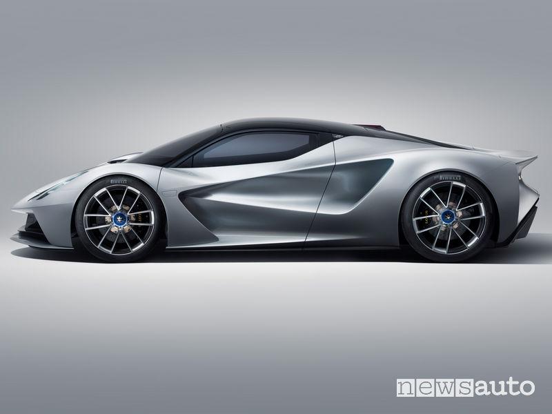 Lotus Evija hypercar elettrica vista laterale
