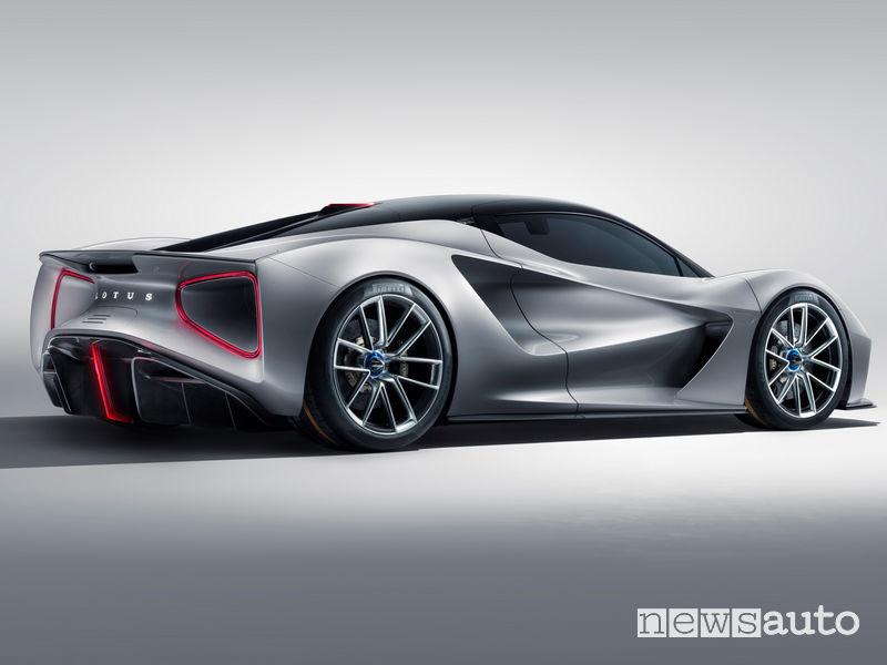 Lotus Evija hypercar elettrica vista posteriore