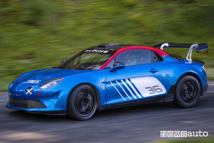 Vista di profilo Alpine A110 Rally
