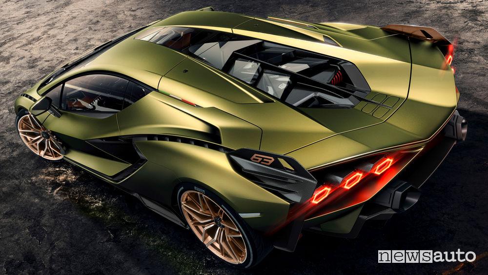 Lamborghini Sian ibrida vista posteriore