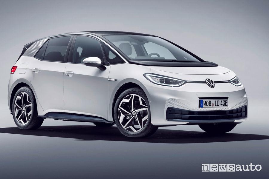 Vista di profilo Volkswagen ID.3 1ST bianca