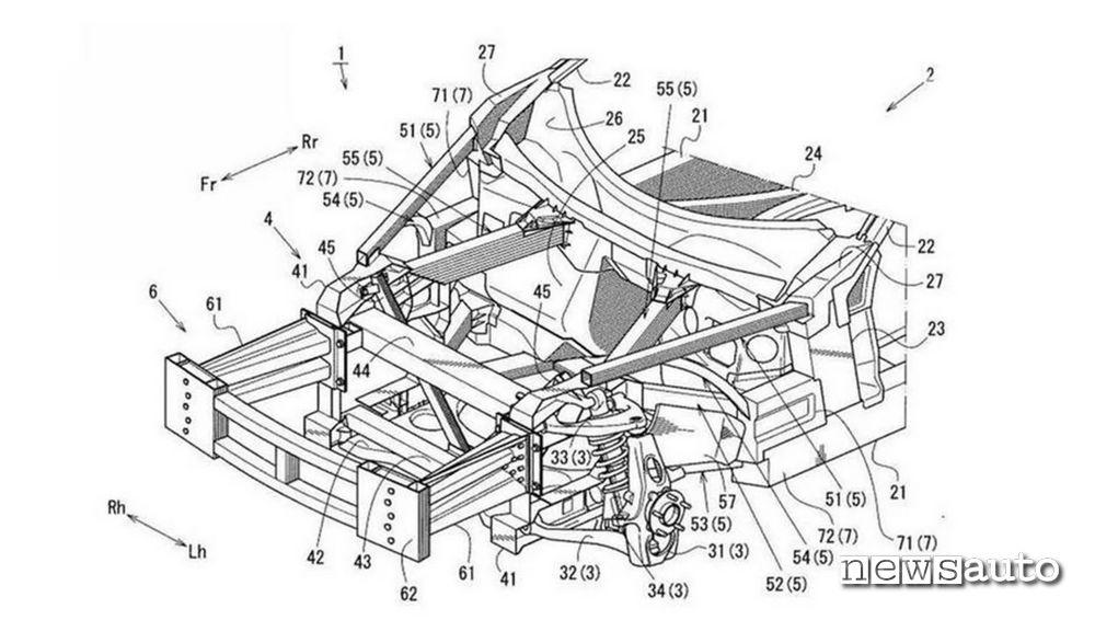 Brevetto Mazda per una struttura portante motore e telaio