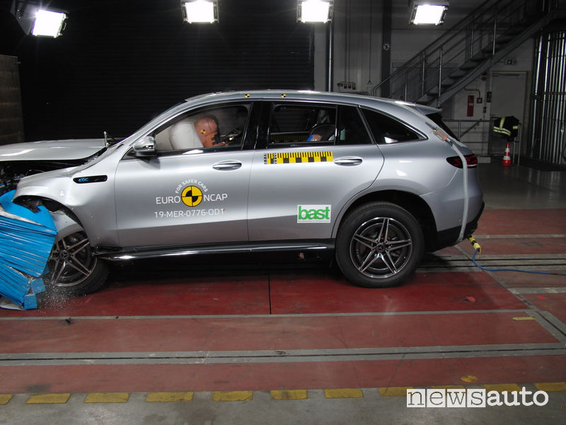 Crash test Euro NCAP urto frontale Mercedes EQC