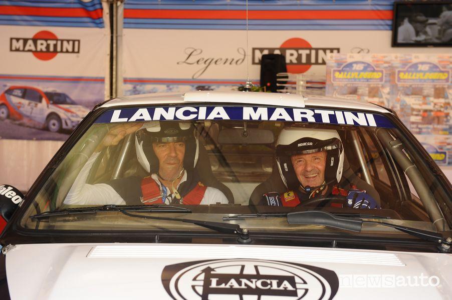 Miki Biasion e Tiziano Siviero nell'abitacolo della Lancia Delta Integrale