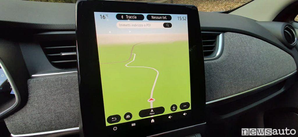 Schermo maggiorato sul nuovo display centrale con il sistema multimediale  ed integrazione della ricerca Google sulla nuova Renault Zoe