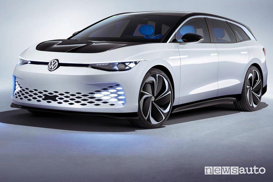 Vista di profilo Volkswagen ID. Space Vizzion