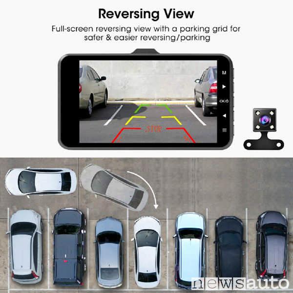 Dash Cam auto doppia telecamera con vista posteriore e anteriore