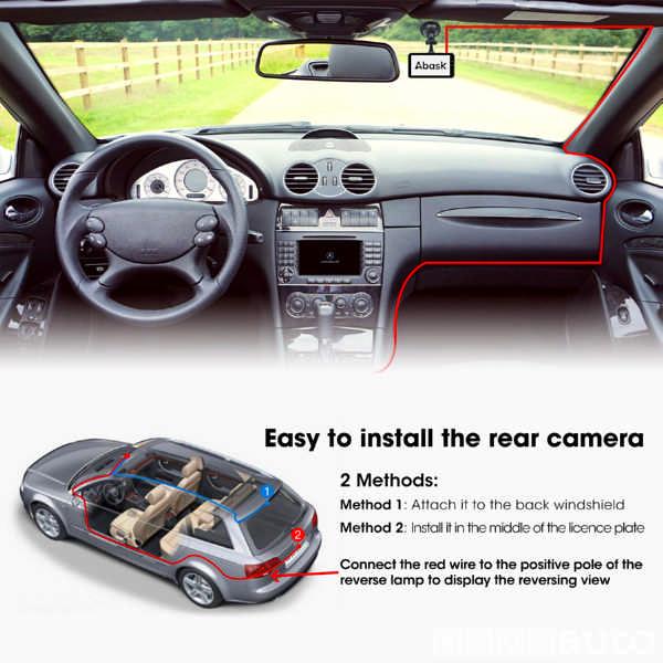 La Dash Cam doppia telecamera viene posizionata internamente sul parabrezza anteriore e posteriormente sul portellone posteriore