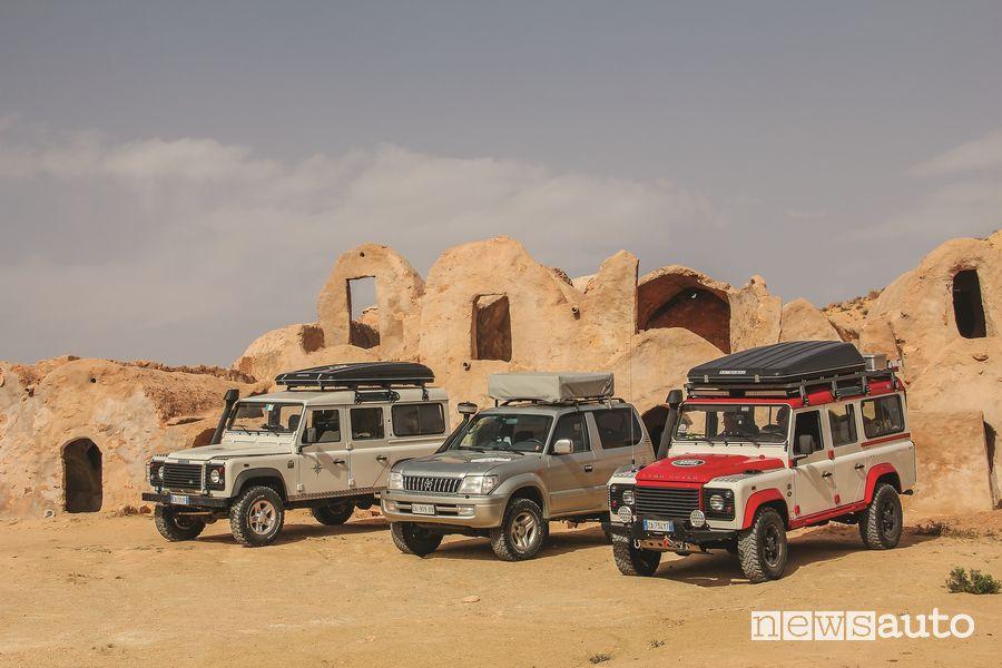 Viaggio in Tunisia con fuoristrada Land Rover Defender e Toyota