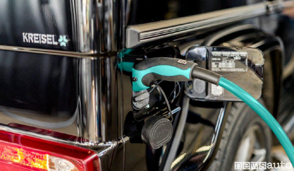 La presa di ricarica Type2 del Mercedes Classe G con il motore elettrico (Copyright von Kreisel Electric)