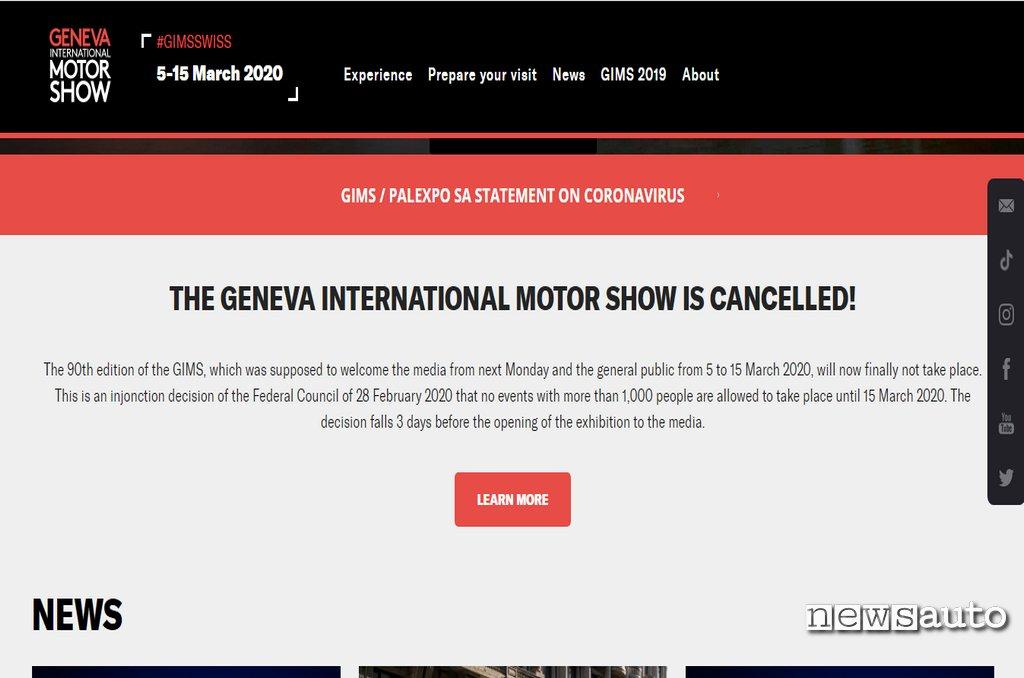 Salone Ginevra 2020 annullato