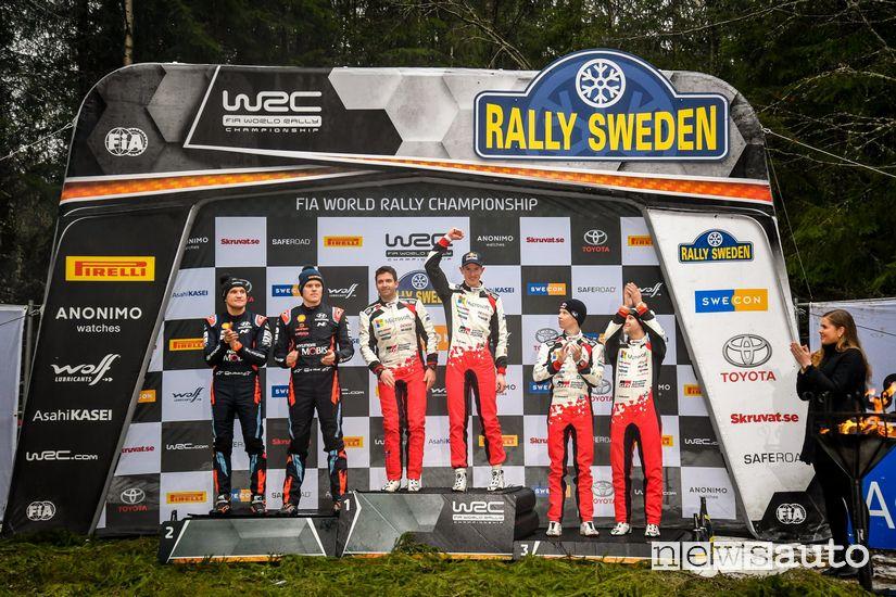 Il podio del Rally di Svezia WRC 2020