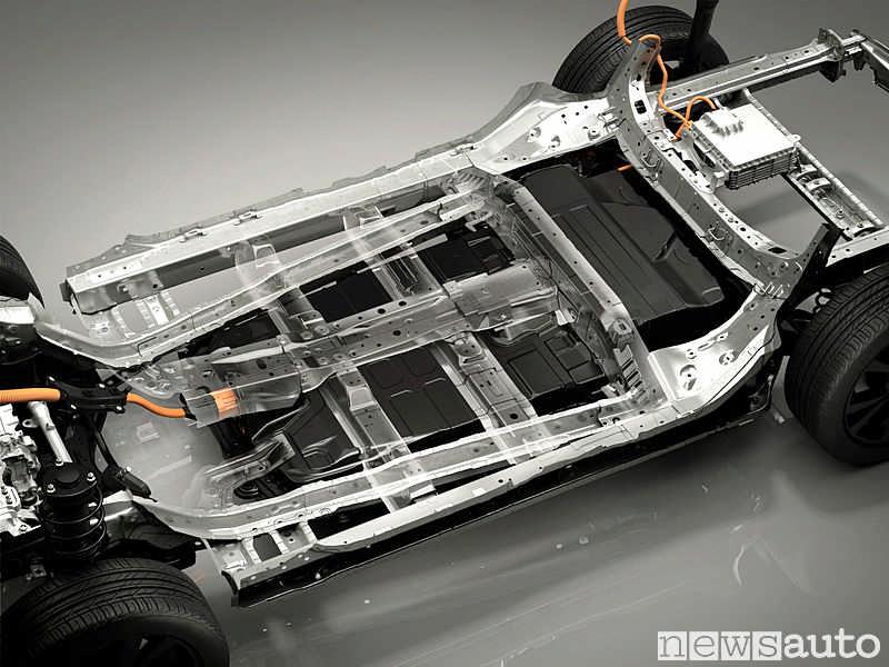 La batteria della Mazda MX-30 contribuisce ad abbassare il baricentro della vettura.  E' posta sotto il pianale