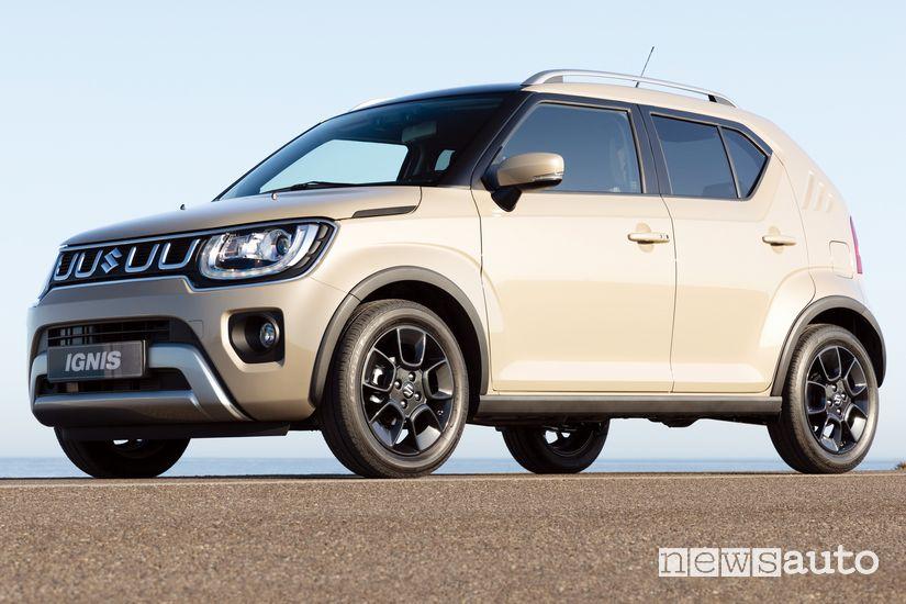 Vista di profilo Suzuki Ignis Hybrid 2020 Avorio Nairobi