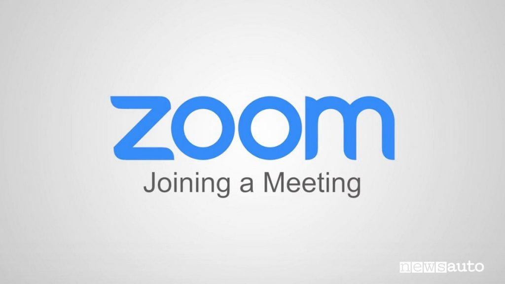 """Il logo di Zoom la piattaforma per videochiamate  """"Joining a meeting"""""""