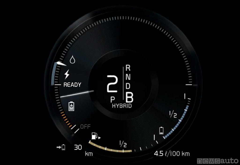 Indicatore di consumo istantaneo dei motori elettrico ed endotermico, con indicatore del carburante e carica della batteria.