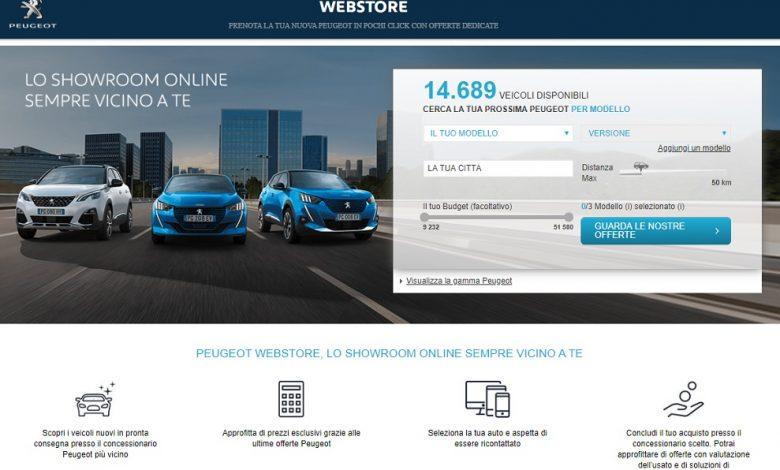Concessionaria Peugeot on line nel Webstore