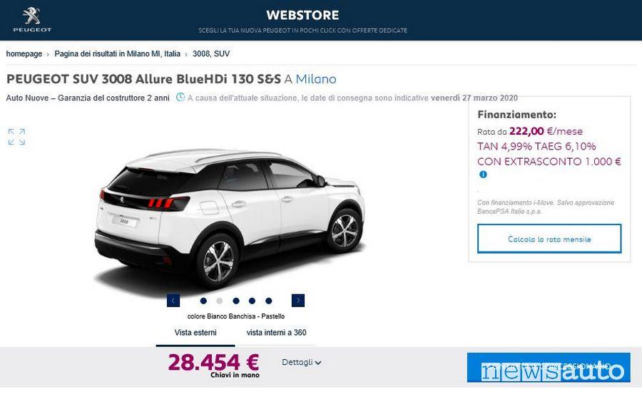 Offerta Peugeot 3008 Allure sul Webstore acquisto auto on line