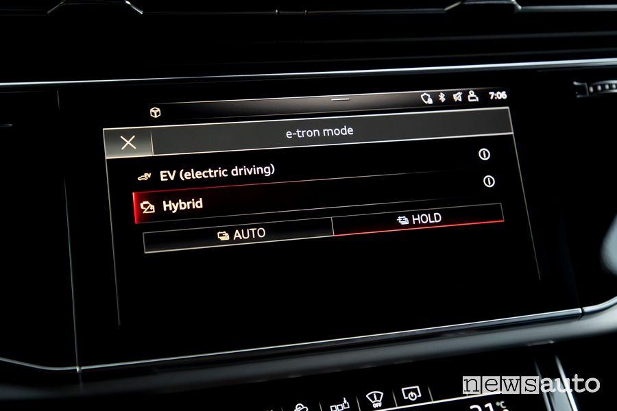 Schermata modalità di guida Audi A6 TFSI e quattro