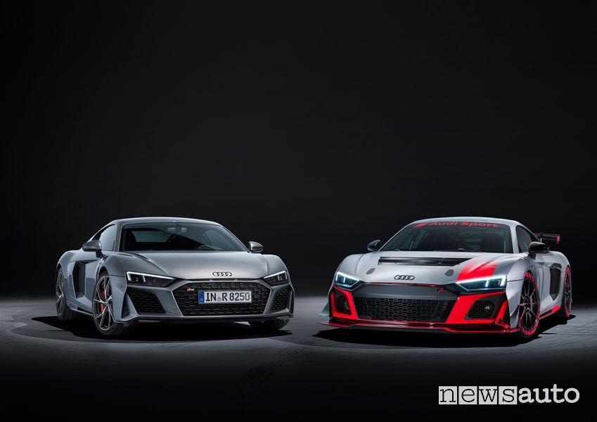 udi R8 V10 RWD insieme all'Audi R8 LMS GT4