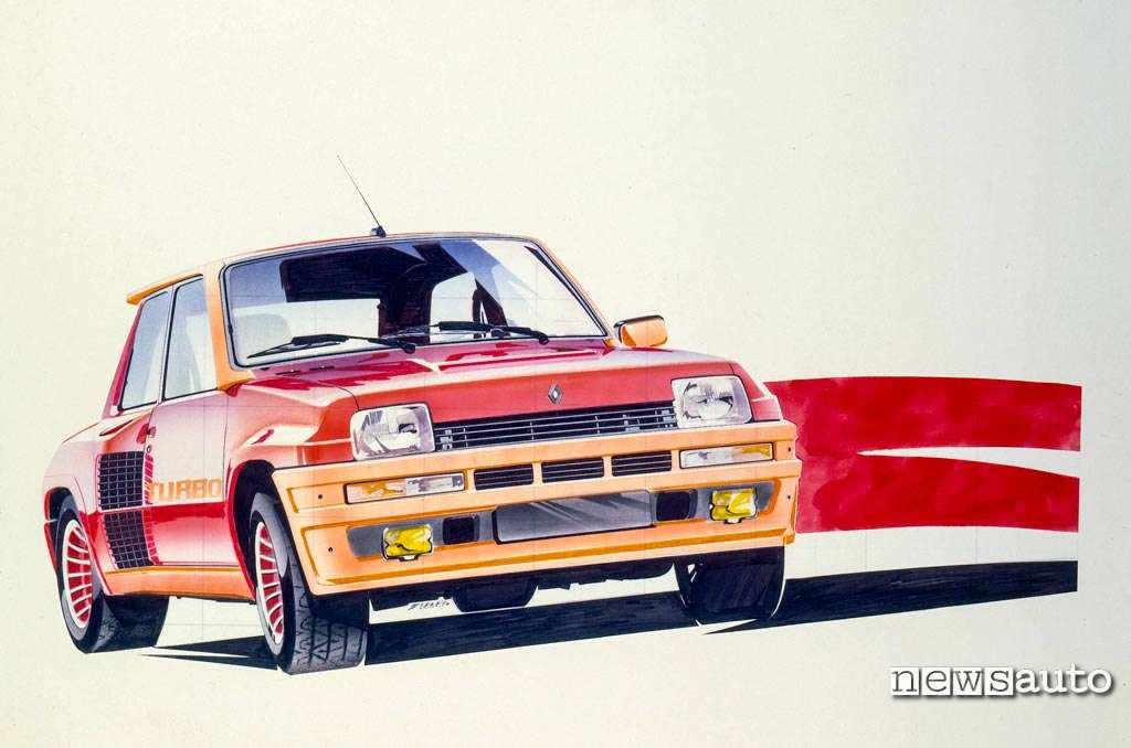 Bozzetto dello studio di design della Renault 5 Turbo 1976